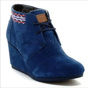 "Toms Blue Desert Ankle Booties Lace Up 3"" Suede"